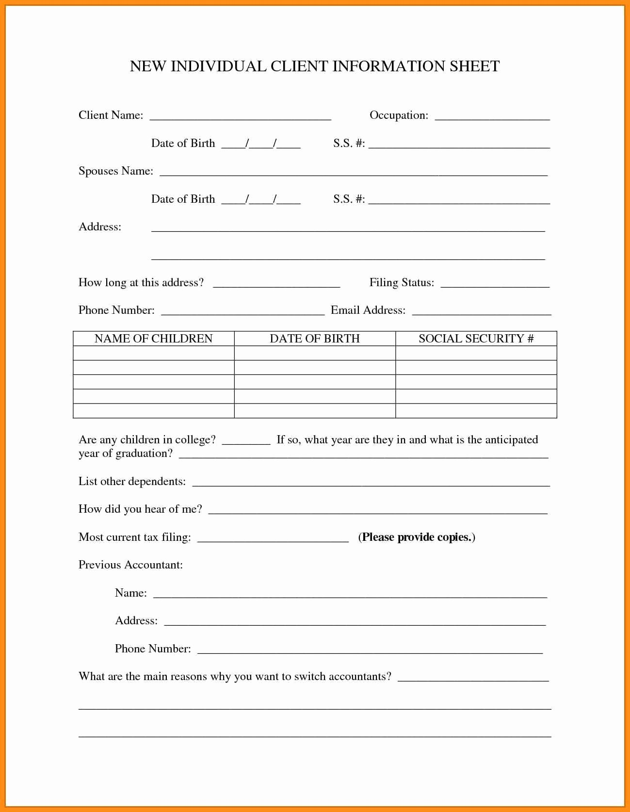 New Client form Template Lovely New Customer Information form Template Keni