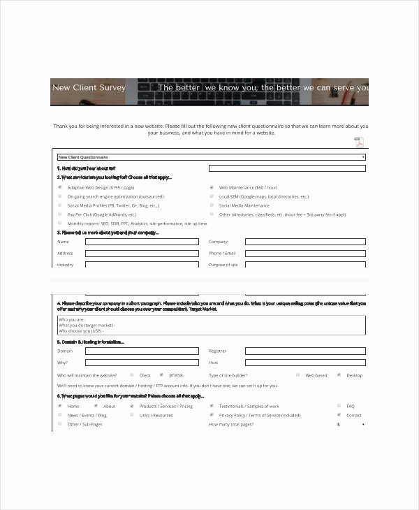 New Client form Template Luxury Client Survey Template 7 Free Word Pdf Documents