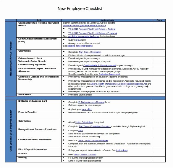 New Employee Checklist Template Excel Elegant New Employee Checklist Template Excel – Bulat