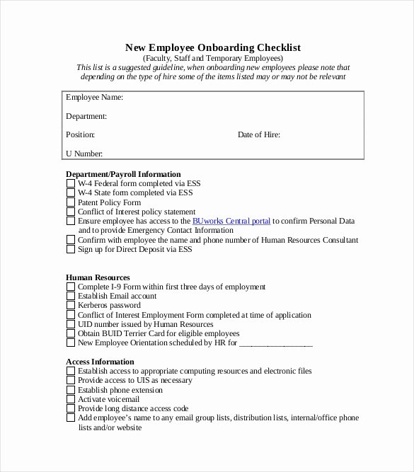 New Employee Checklist Template Excel Lovely Boarding Checklist Template 17 Free Word Excel Pdf