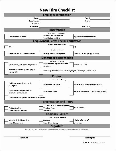 New Employee Checklist Template Excel New Free Basic New Hire Checklist From formville