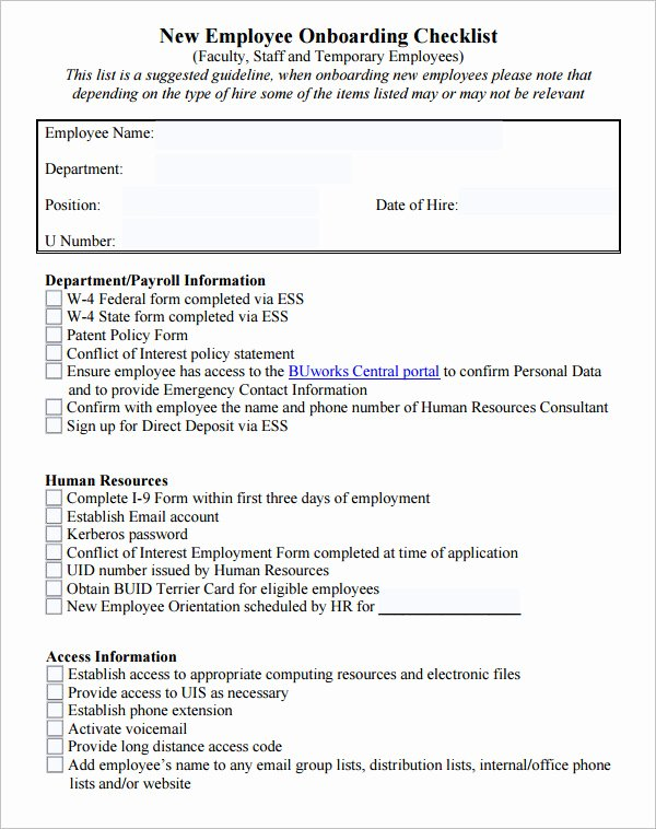 New Employee Checklist Template Excel Unique 26 Hr Checklist Templates Free Sample Example format