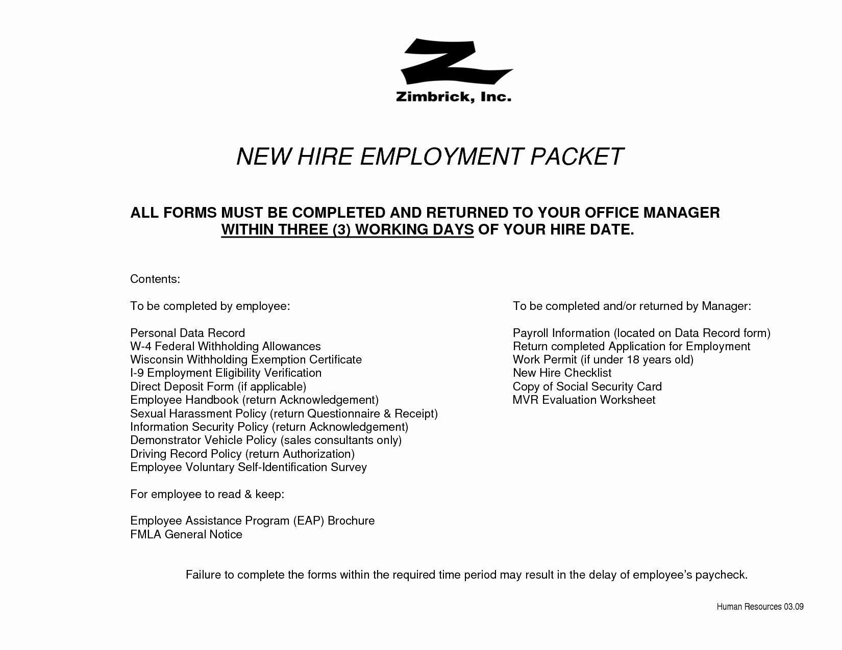 New Employee Welcome Packet Template Awesome New Hire Packet forms Bing Images