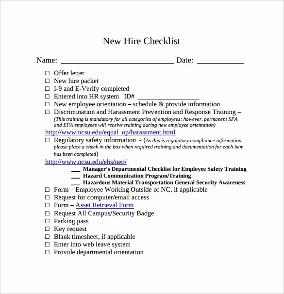 New Employee Welcome Packet Template Awesome Sample New Hire Checklist Template 11 Documents In Pdf