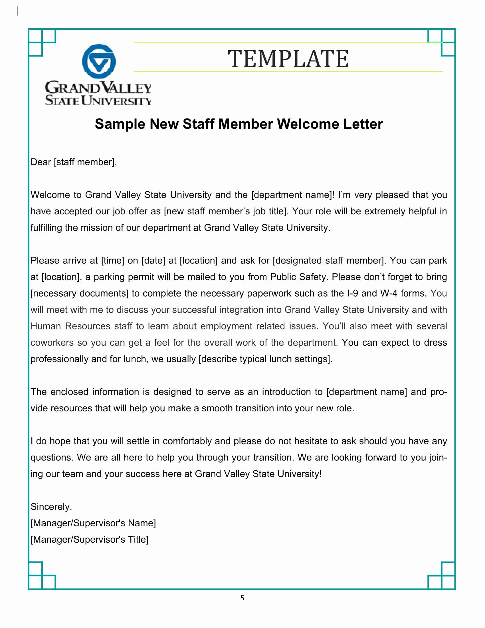 New Employee Welcome Packet Template Beautiful 9 New Hire Wel E Letter Examples Pdf