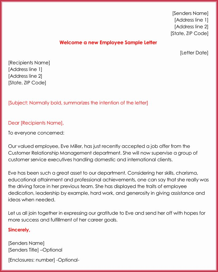 New Employee Welcome Packet Template Fresh Wel E Letter Templates 20 Printable Samples & formats