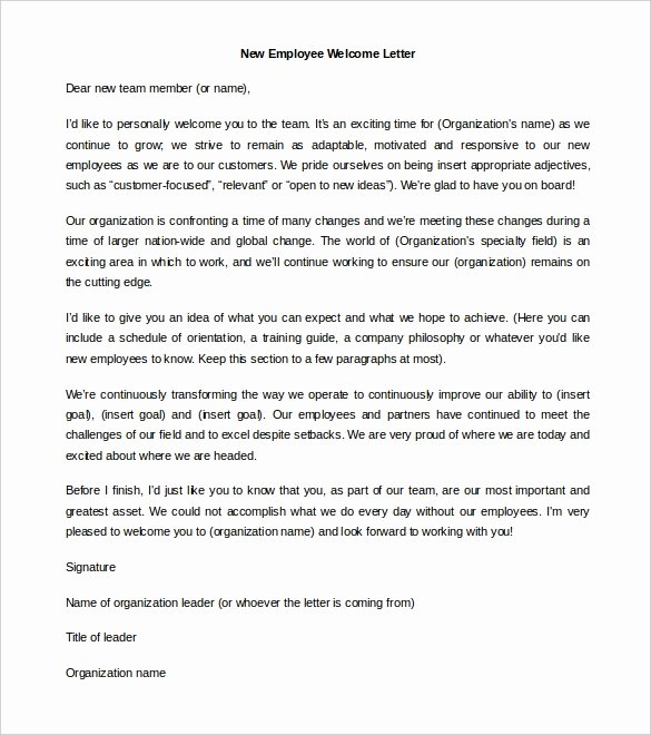 New Employee Welcome Packet Template Lovely 21 Hr Wel E Letter Templates Doc Pdf