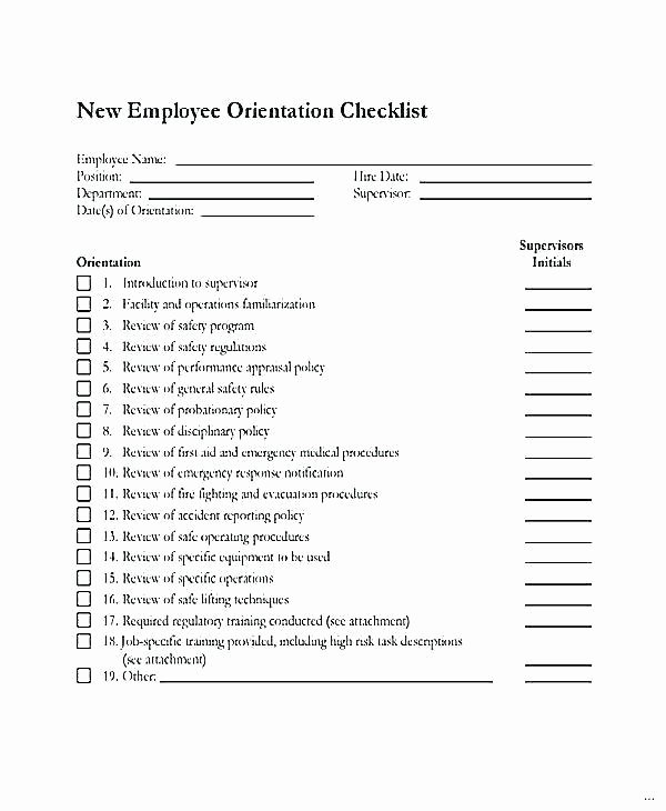 New Employee Welcome Packet Template Lovely New Employee orientation Checklist Excel