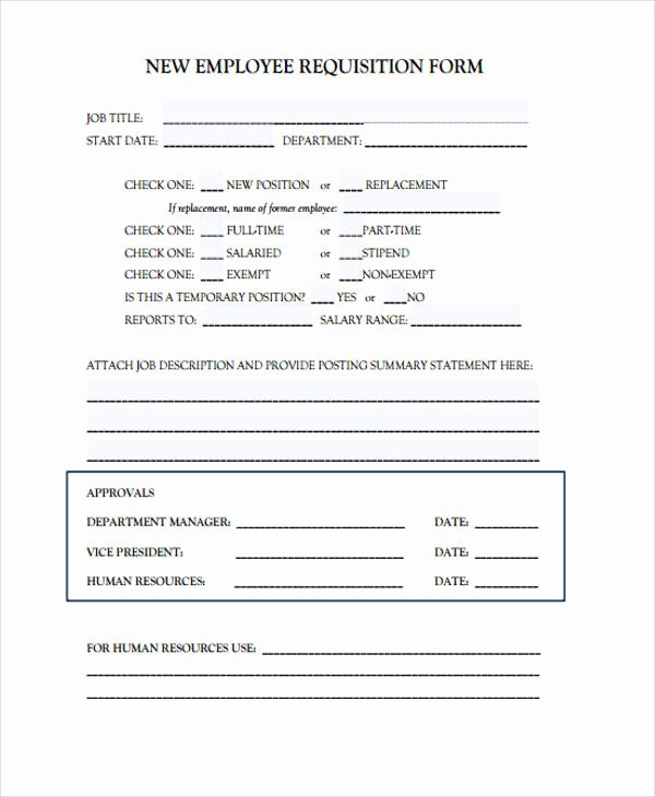 New Hire Requisition form Beautiful 85 Requisition form In Pdf