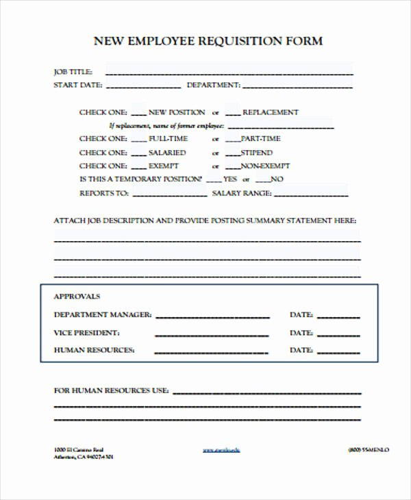 New Hire Requisition form Best Of 40 Sample Requisition form In Pdf