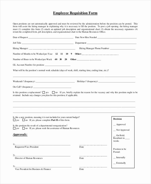New Hire Requisition form Fresh Sample Employment form 26 Free Documents In Word Pdf
