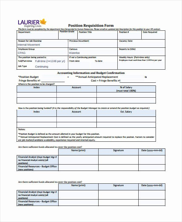 New Hire Requisition form Inspirational Requisition form Template 8 Free Pdf Documents Download