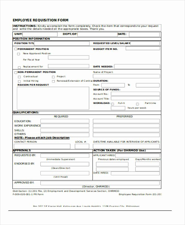 New Hire Requisition form Inspirational Requisition forms In Excel