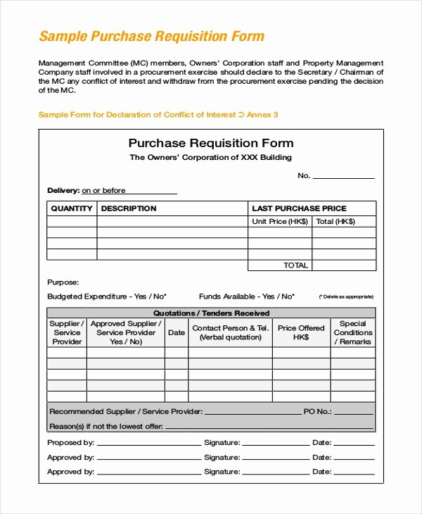New Hire Requisition form Inspirational Sample Purchase Requisition forms 8 Free Documents In