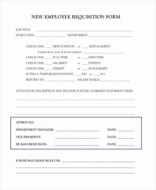 New Hire Requisition form Lovely Requisition form Example