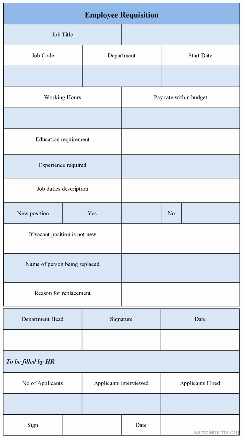 New Hire Requisition form Luxury Employee Requisition form Sample forms