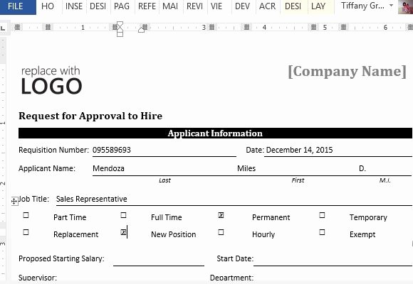 New Hire Requisition form New Sample Request form for Approval to Hire for Word
