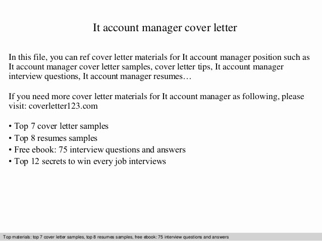 New Sales Rep Introduction Email Elegant It Account Manager Cover Letter
