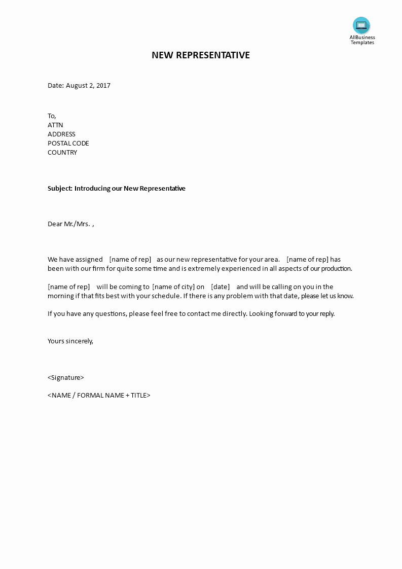 New Sales Rep Introduction Email Luxury Introduction Letter Of New Sales Representative