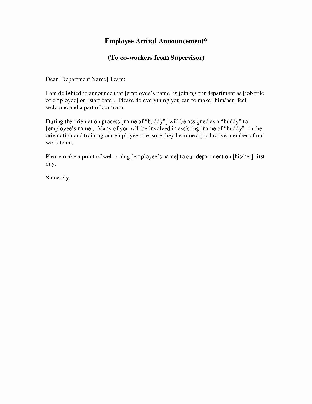 New Sales Rep Introduction Email Luxury New Employee Announcement Letter This Sample New