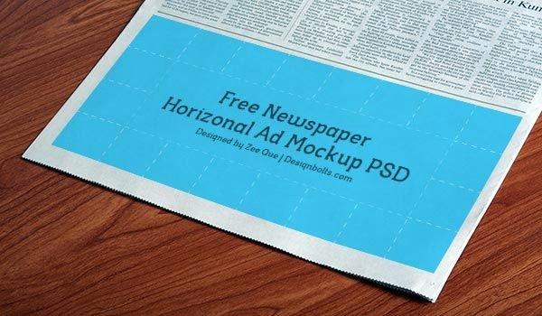 Newspaper Advertisement Template Elegant Free Horizontal Newspaper Ad Mockup Psd Mockups