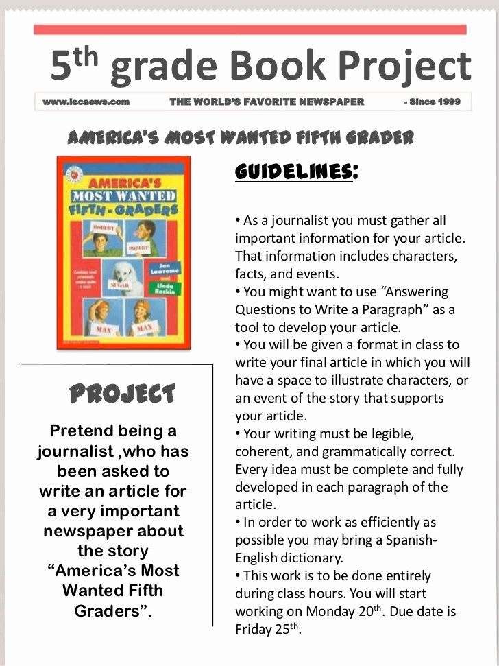 Newspaper Book Report Template Elegant Book Project Template