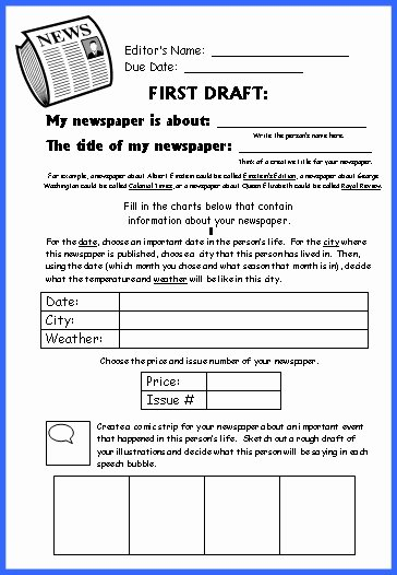Newspaper Book Report Template Inspirational Biography Book Report Newspaper Templates Printable