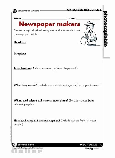 Newspaper Book Report Template Inspirational Newspaper Makers – Writing Frame – Free Primary Ks2