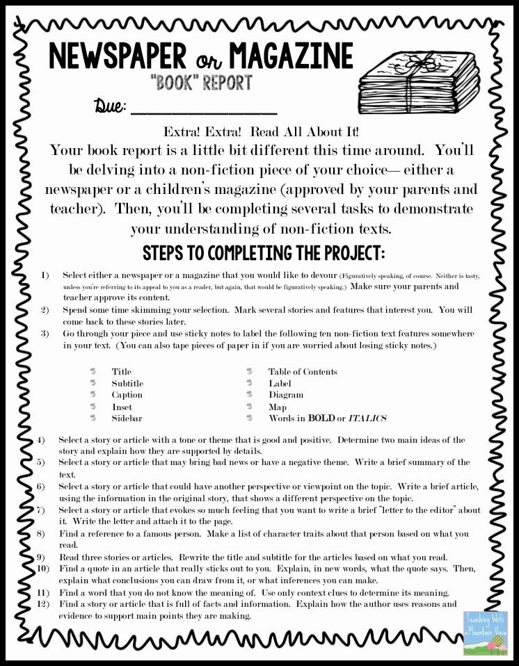"Newspaper Book Report Template Unique Non Fiction Newspaper or Magazine ""book"" Report"