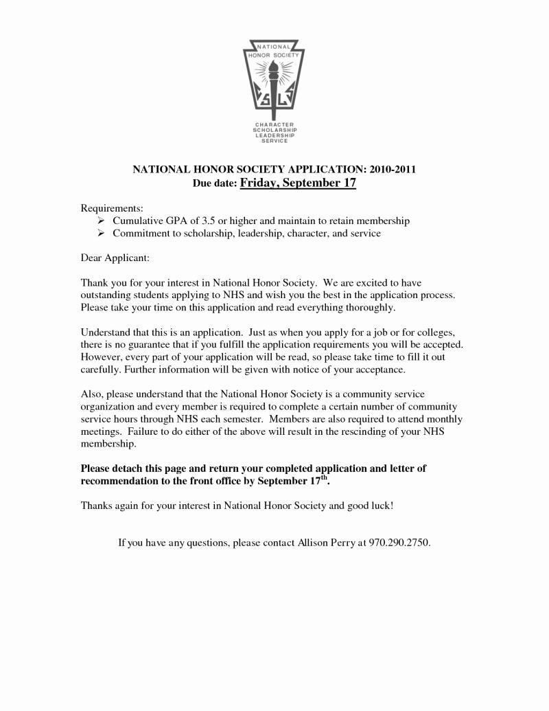 Nhs Acceptance Letter Sample Elegant Sample Re Mendation Letter for National Honor society