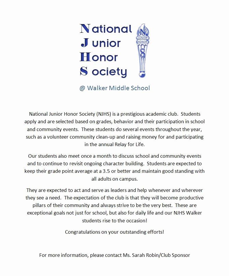 Nhs Acceptance Letter Sample Elegant Walker National Junior Honor society Walker Ms