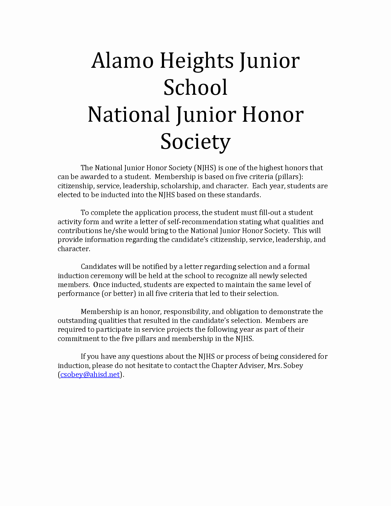 Nhs Acceptance Letter Sample Lovely Re Mendation Letter for National Honor society Free