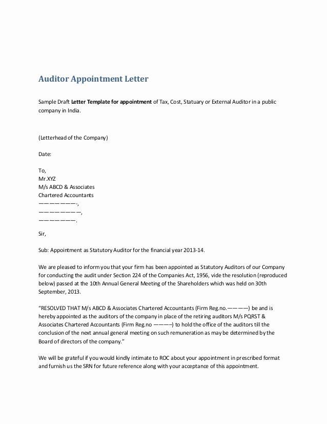 Nhs Acceptance Letter Sample Luxury Auditor Appointment Letter