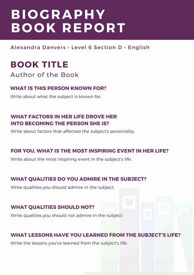 Non Fiction Book Report Template Fresh Violet Header Non Fiction Book Report Templates by Canva