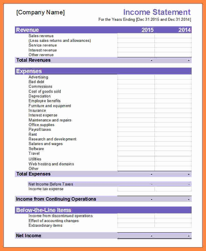 Non Profit Financial Statement Template Excel New 8 Business Financial Statement Template Excel