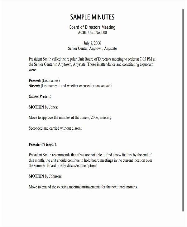 Non Profit Meeting Minutes Template Awesome 7 Nonprofit Meeting Minutes Template