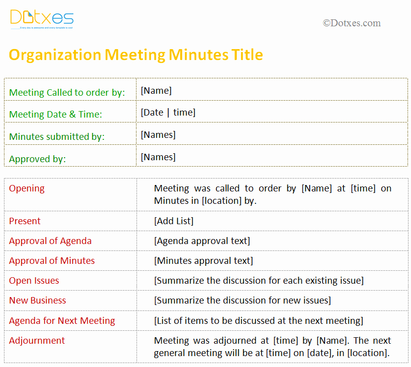 Non Profit Meeting Minutes Template Fresh Meeting Minutes Template for organization Dotxes