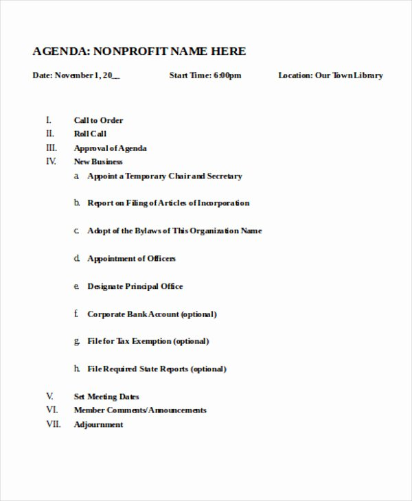 Non Profit Meeting Minutes Template New Nonprofit Agenda Templates 7 Free Sample Example