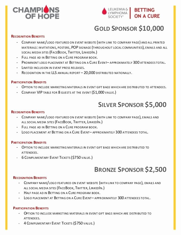 Non Profit Sponsorship Package Template Fresh More for the Levels Info Than the Design