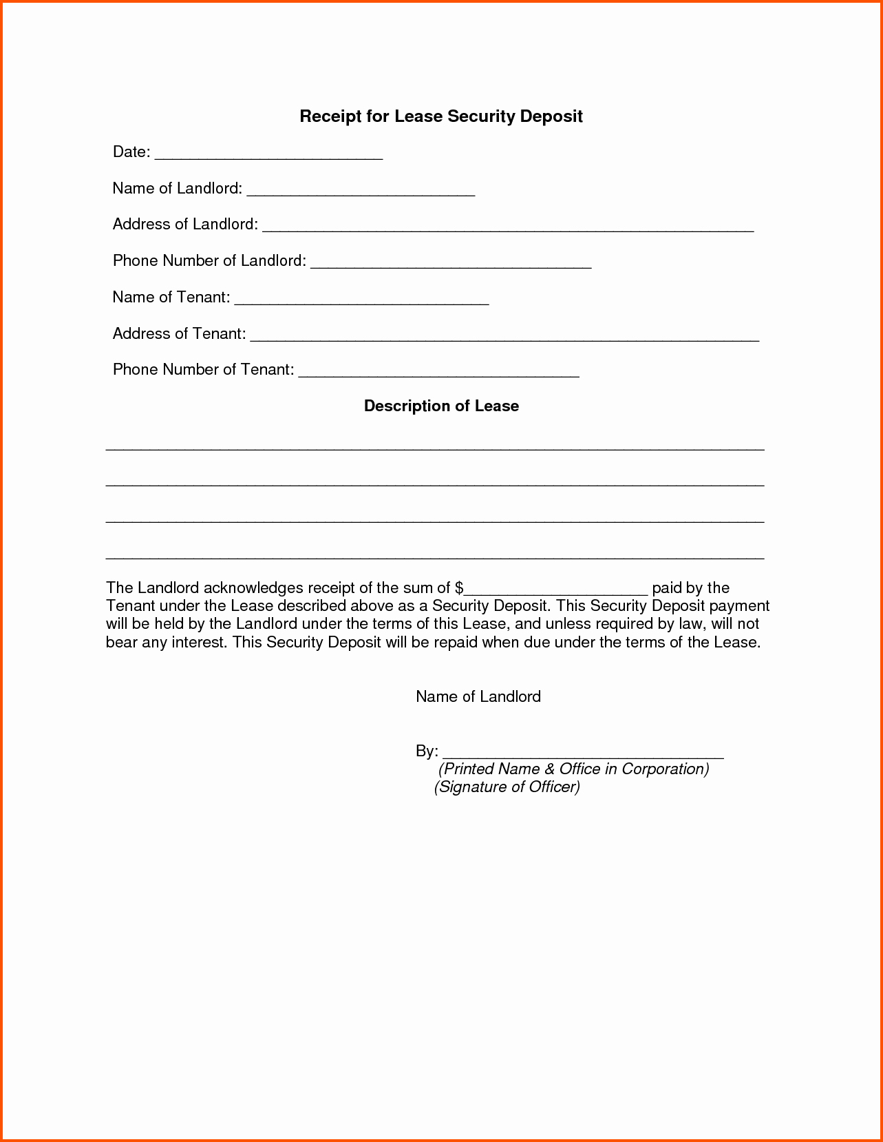 Non Refundable Deposit form Template Awesome 15 Security Deposit Receipt