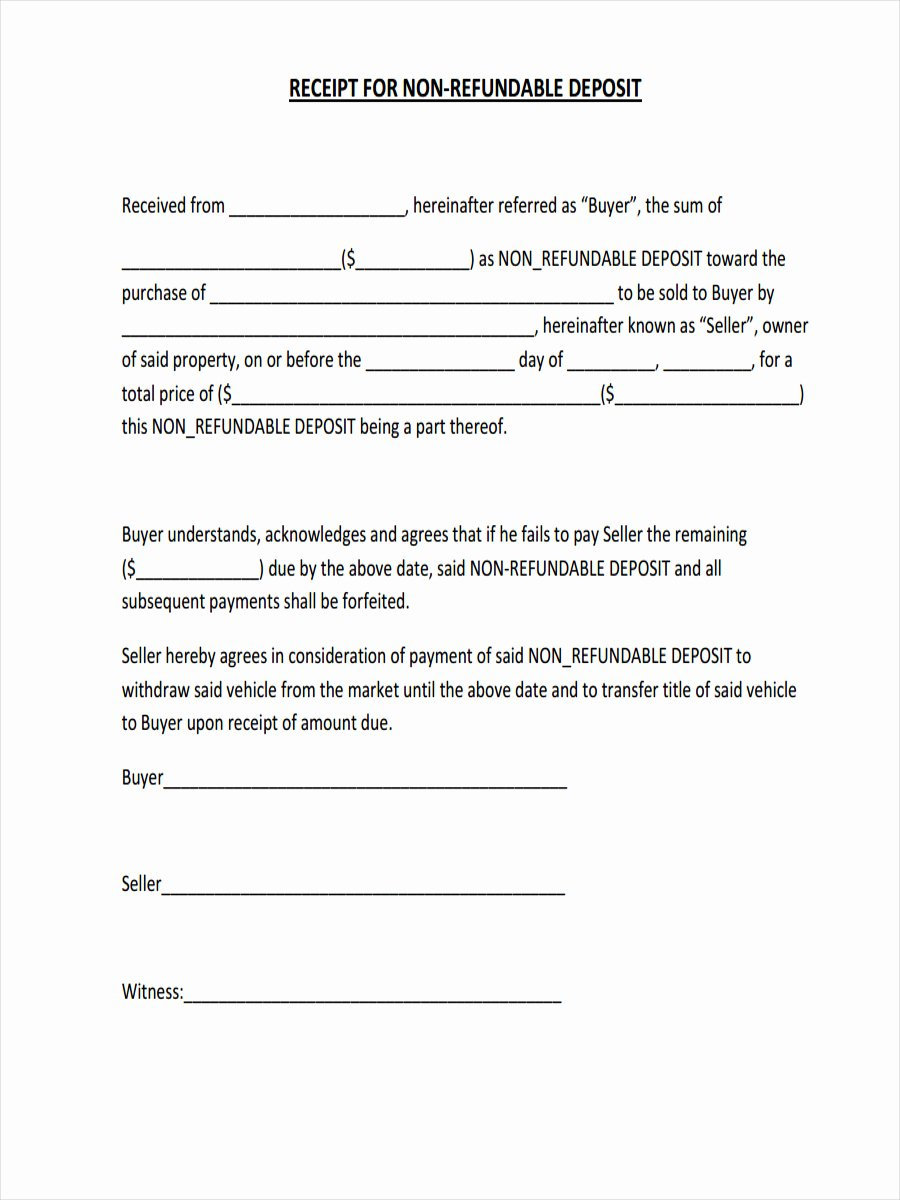 Non Refundable Deposit form Template Awesome 16 Non Refundable Deposit form