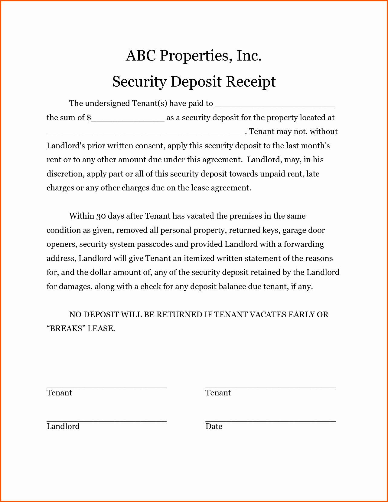 Non Refundable Deposit form Template Elegant 15 Security Deposit Receipt