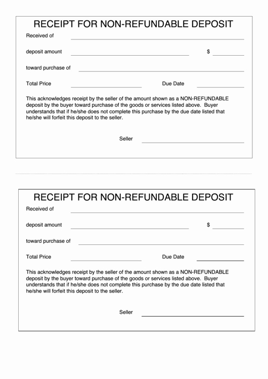 Non Refundable Deposit form Template Elegant 26 Deposit Receipt Templates Free to In Pdf
