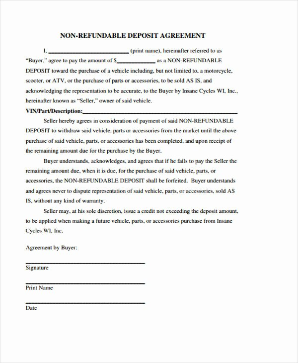Non Refundable Deposit form Template Elegant 39 Agreement Templates In Pdf