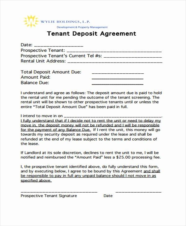 Non Refundable Deposit form Template Elegant Good Faith Deposit Agreement form