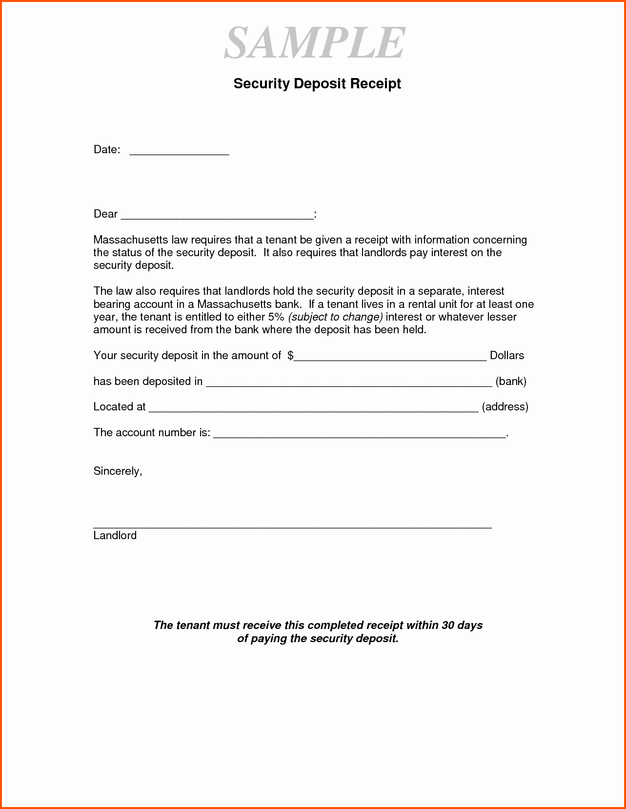 Non Refundable Deposit form Template Lovely 15 Security Deposit Receipt