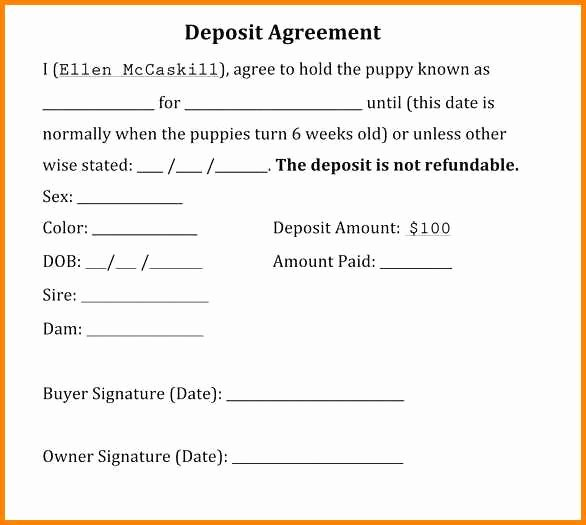 Non Refundable Deposit form Template Luxury 11 Puppy Deposit Contract Steamtraaleren Borgenes