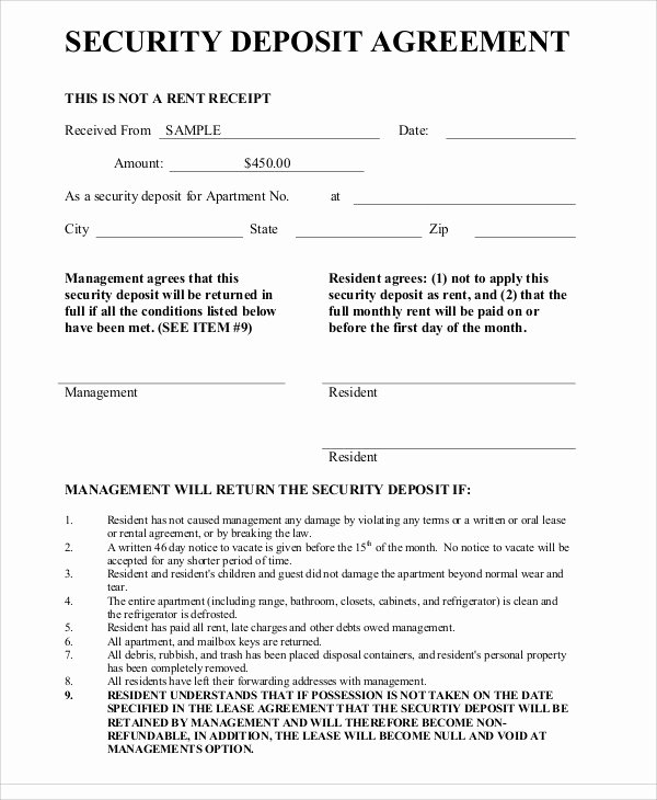Non Refundable Deposit form Template Luxury Deposit Agreement Template 20 Free Word Pdf format