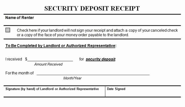 Non Refundable Deposit form Template Luxury Security Deposit Receipt Templates Find Word Templates