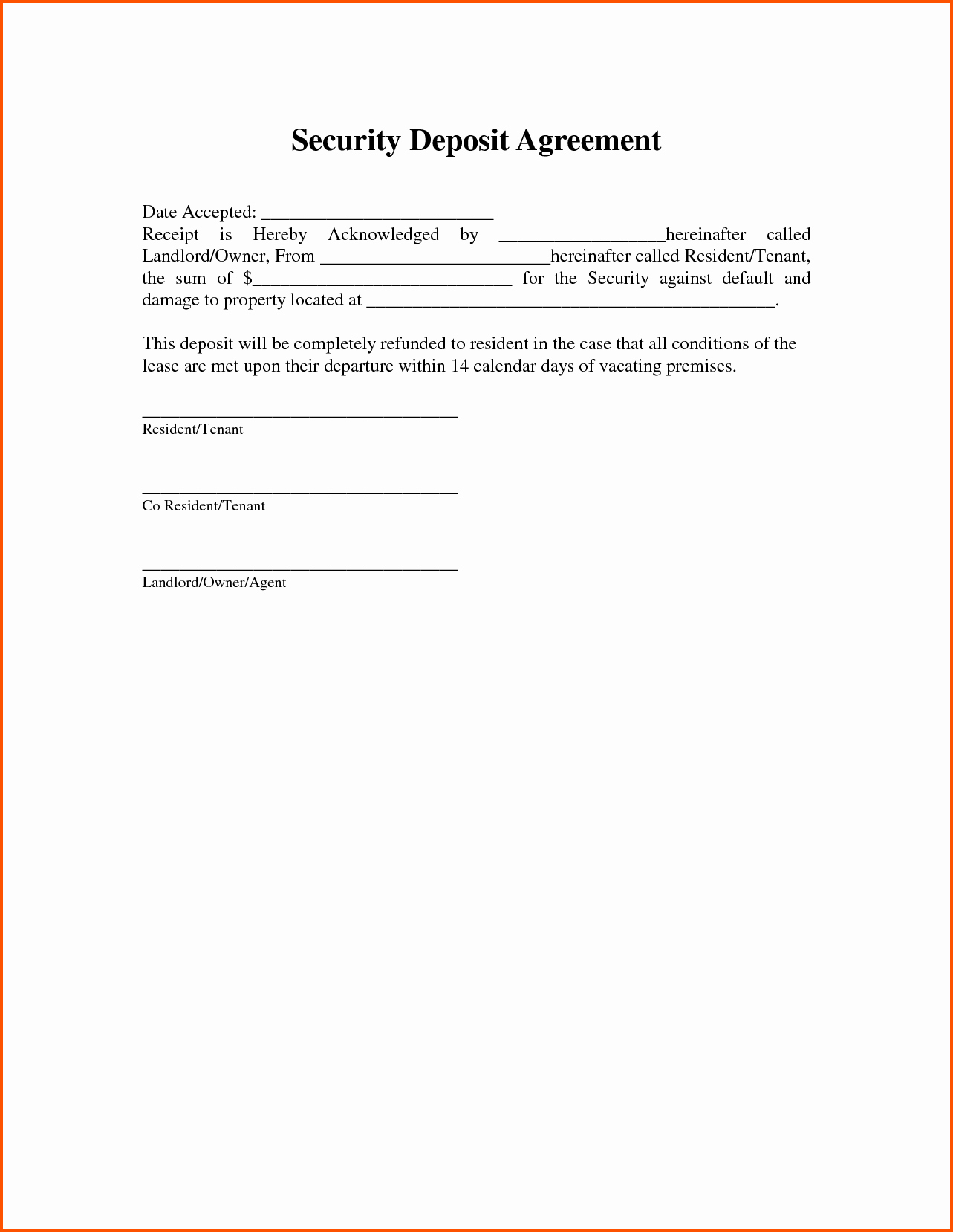 Non Refundable Deposit form Template Unique 11 Security Deposit Receipt form